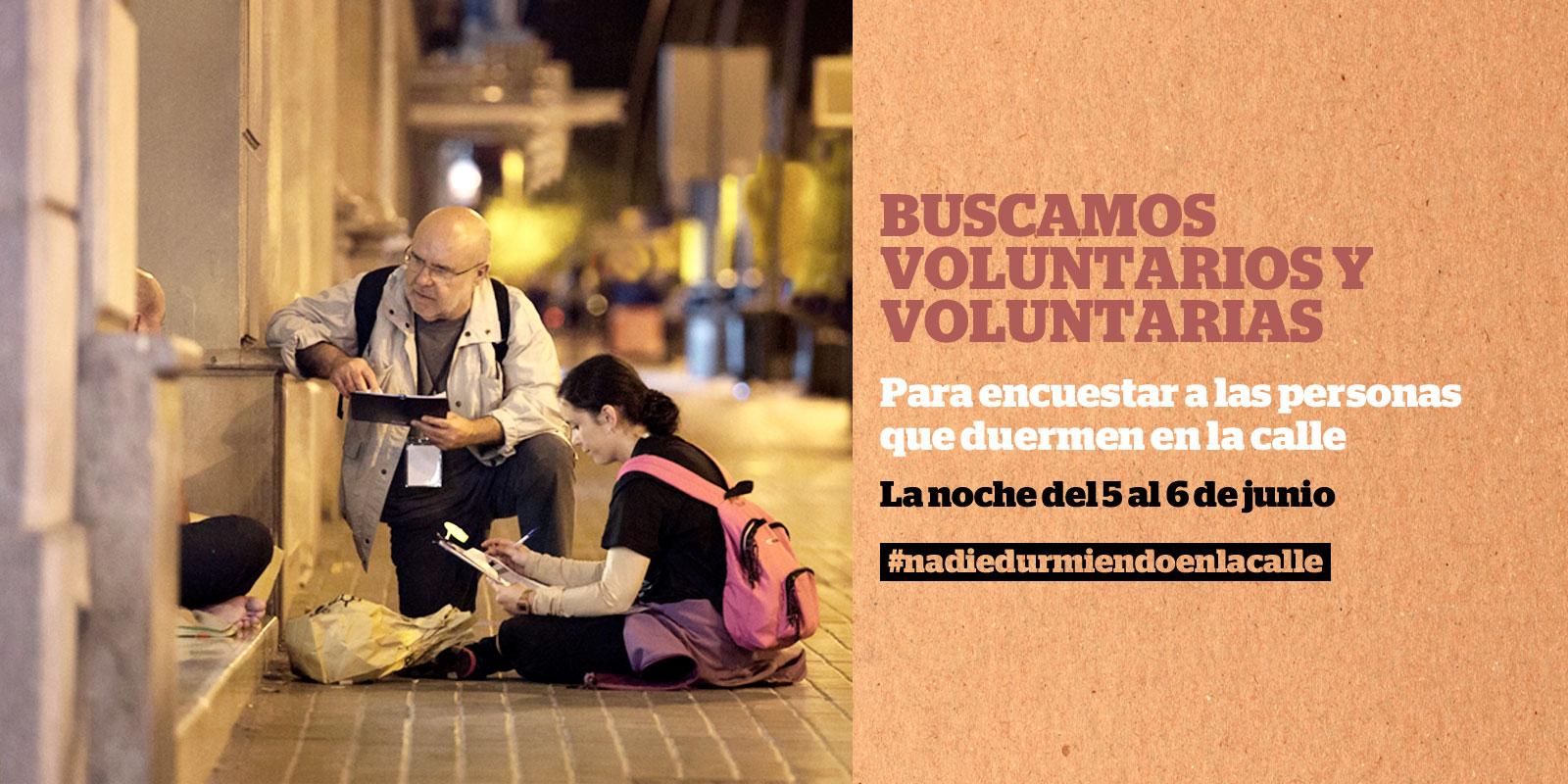 Buscamos 600 personas voluntarias para el censo de personas que duermen en la calle