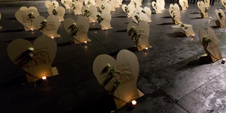 59 corazones que hablan del derecho al recuerdo