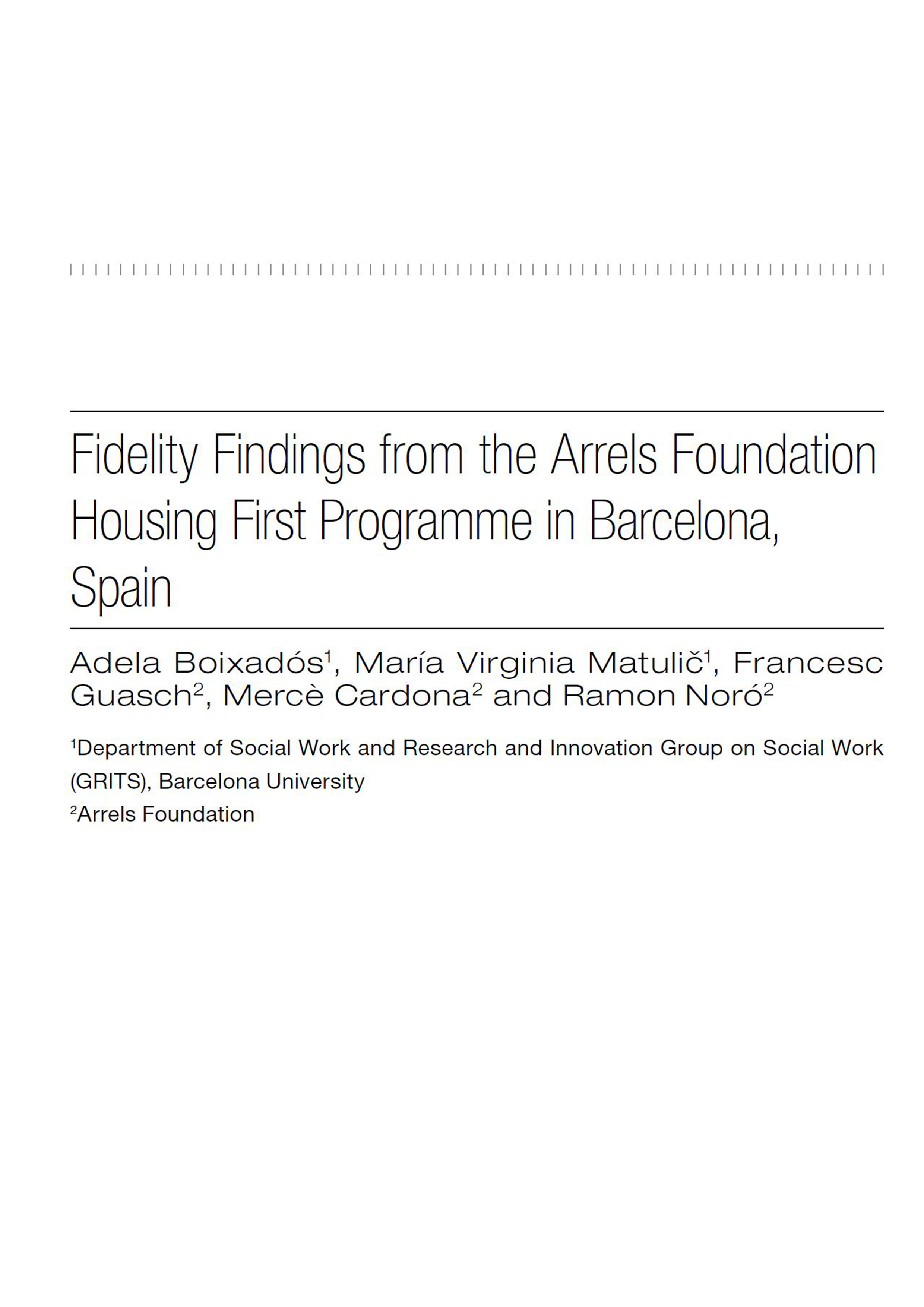 Fidelity Findings from the Arrels Housing First Programme