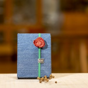 Handmade denim notebook with red rose